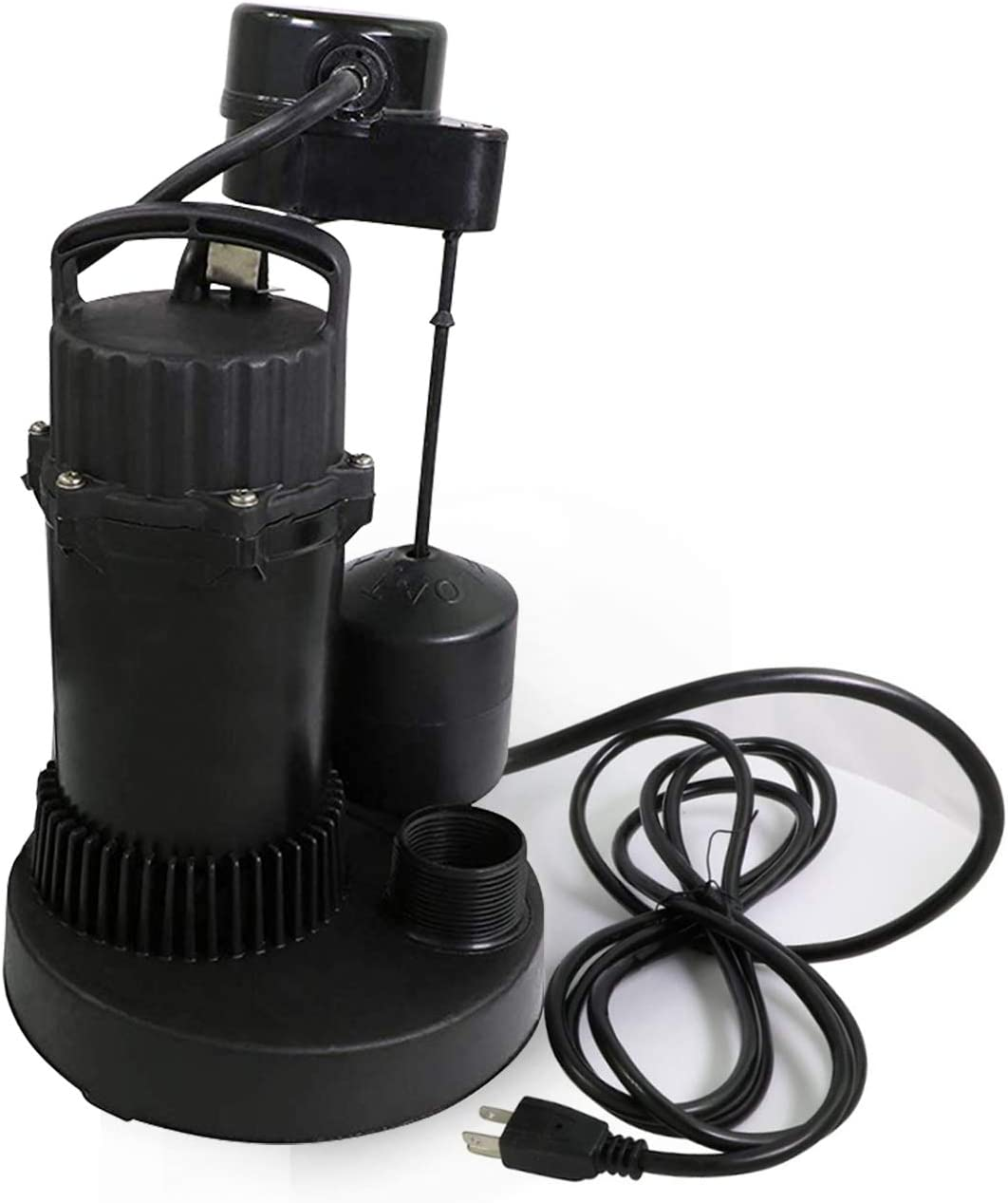 Supply Giant TQIQ12 Heavy Duty Sumbersible Sump Pump 1/2'' HP With Float Switch, Black