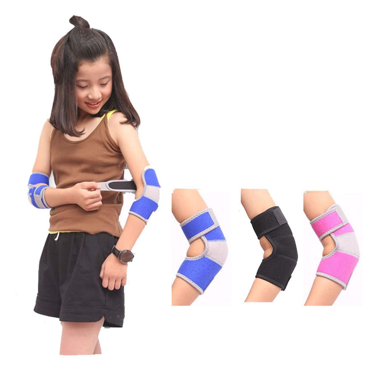 Bigsweety Kinder Verstellbare Ellenbogenbandage Protector Crash Proof Pad Atmungsaktiv Arm Unterstü tzung fü r Radfahren Klettern Tanzen (Schwarz) TangRen