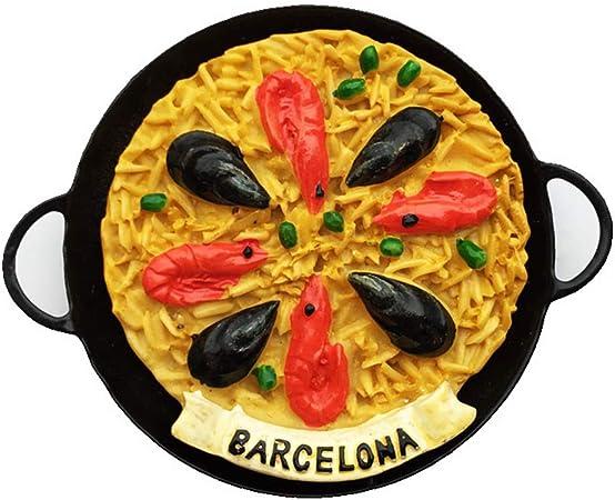 Hqiyaols Souvenir España Barcelona Net Red Snack Olla de Hierro Mariscos Risotto 3D Refrigerador Refrigerador Imán Etiqueta Viaje Ciudad Recuerdos Colección Regalos Cocina Resina: Amazon.es: Hogar