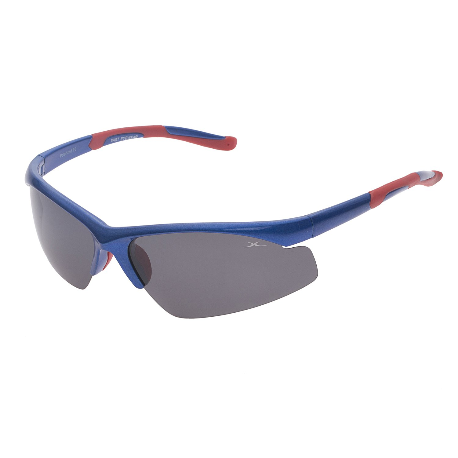 Vast Polarized Driving UV Protection Sports Unisex Sunglasses (PoloBPS_15000_SHINY_BLUE_RED|60|Grey Lens).