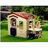 Toddler Playhouse for Kids Children 1 Year Old Min Beige Color Door Play Game Entertainment Patio Lawn Garden Porch Backyard Balcony Picnic Table Stools & eBook by Easy&FunDeals