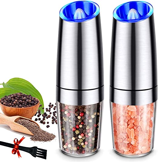 Amazon.com: Pepper Grinder Set Automatic Pepper Gravity Electric Salt Mill  Grinder Battery-Operated with Adjustable Coarseness, LED Light, One Hand  Operated: Kitchen & Dining