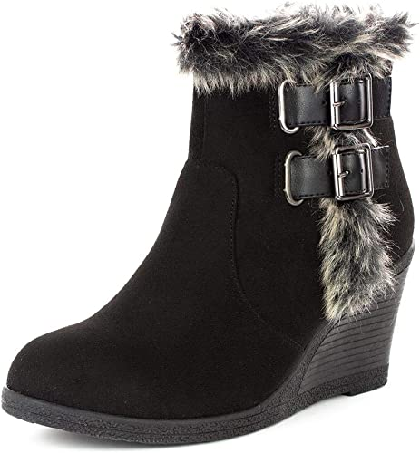 preview of famous brand wholesale outlet LILLEY Womens Black Faux Fur Trim Wedge Ankle Boot: Amazon.co.uk ...