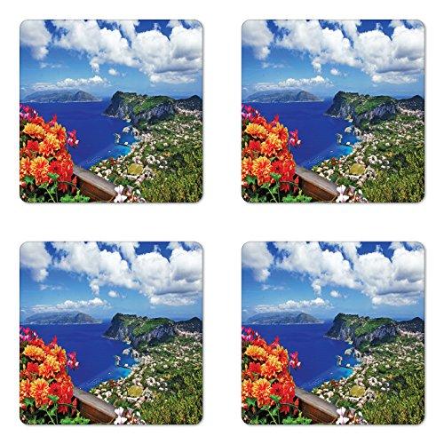 Lunarable Island Coaster Set of 4, Scenic Capri Island, Italy Mountain Houses Flowers View from Balcony Landmark, Square Hardboard Gloss Coasters for Drinks, Blue Green Orange