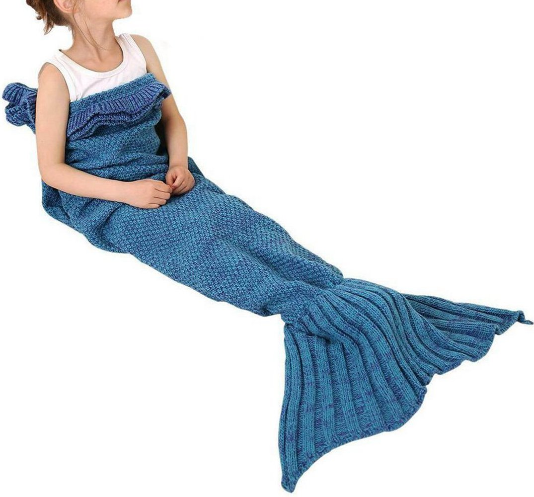 Igeon Soft Hand Crocheted Mermaid Tail Blanket Cocoon Sofa Rug Wrap Quilt for Kids Girls Boys (Blue)