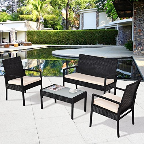 4PC Conversation Set Furniture Rattan Wicker for Outdoor Garden Beach Patio And Poolside. 1 Tempered Glass Top Coffee Table +1 Loveseat +2 Single Sofa +3 Cushions. Color: Black (Table Glass Tropitone)