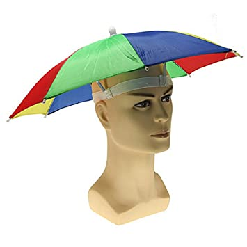 Magical Imaginary Rainbow Umbrella Hat Uv Protection -Outdoor Sun Rain  Headwear Umbrella Hat Cap for Fishing 08221f3f047