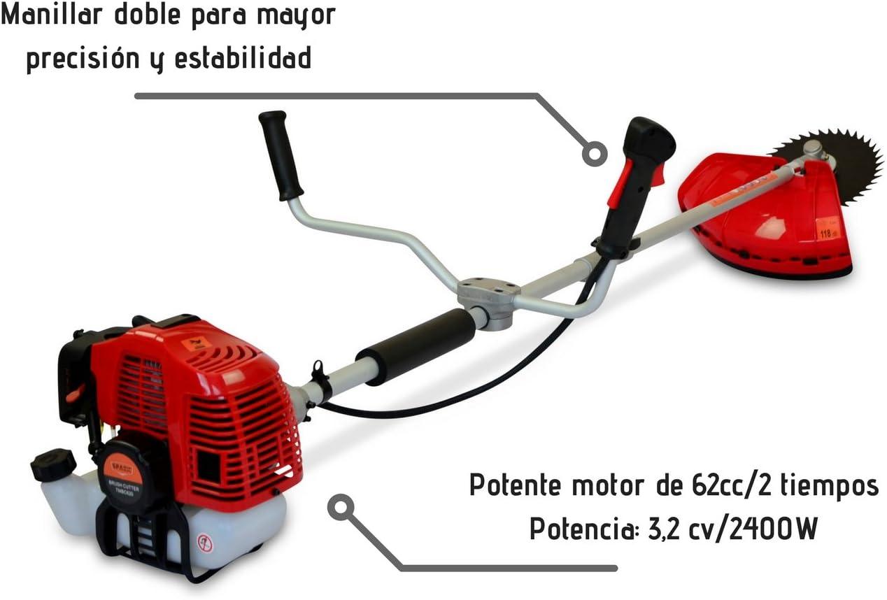 Grandmaster - Desbrozadora Gasolina de 62cc Barra Divisible con 2 discos y cabezal de hilo plastico - TMBC620: Amazon.es: Bricolaje y herramientas
