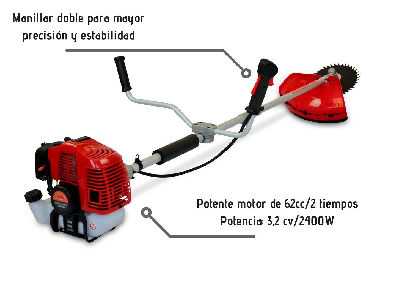 Grandmaster - Desbrozadora Gasolina de 62cc Barra Divisible con 2 ...
