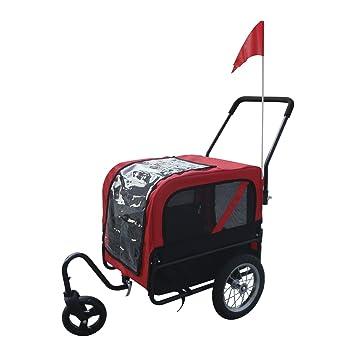 Aosom Elite-Jr Dog Pet Bike Trailer / Stroller w/ Swivel Wheel - Red