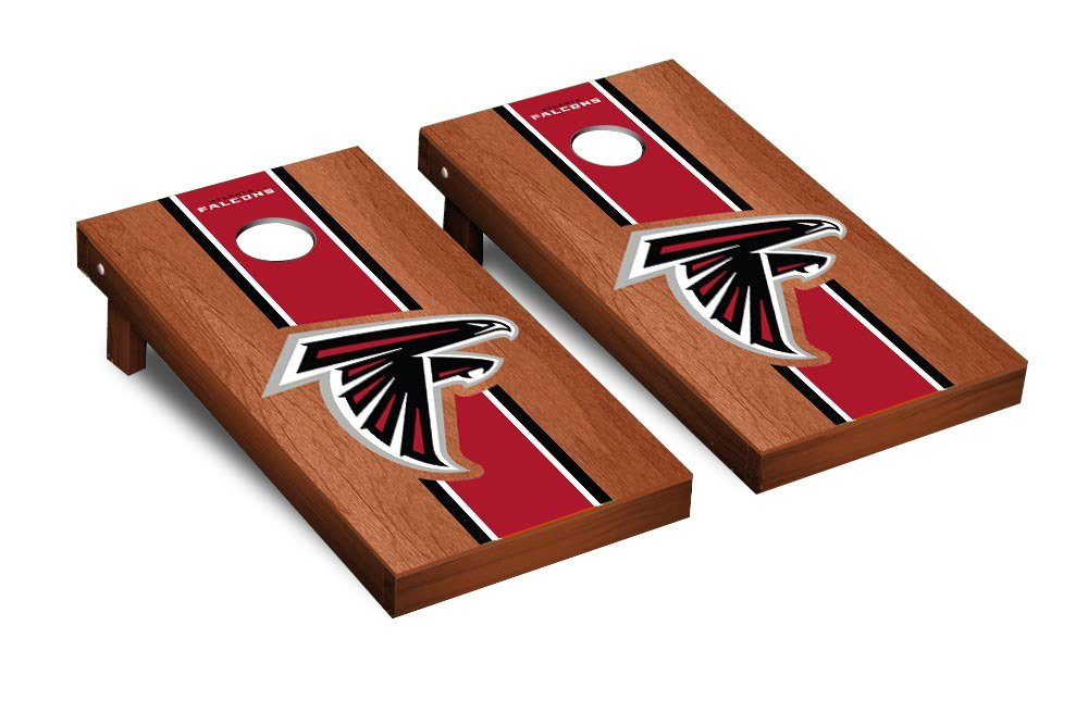 NFL Atlanta Falcons Rosewood Stained Stripe Version 2 Football Corn hole Game Set, One Size