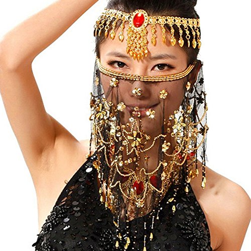Saymequeen Women Beaded Belly Dance Face Veil Lady Beautiful Costume Accessory (Belly Dance Accessories)