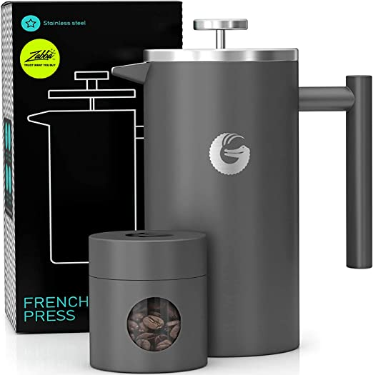 Coffee Gator French Press Coffee Maker- Insulated, Stainless Steel Manual Coffee Makers For Home, Camping w/ Travel Canister- Presses 4 Cup Serving- Large, Gray