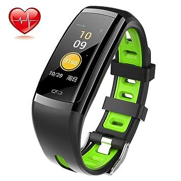 SHT Pulsera Inteligente con Ritmo cardíaco monitoreo del sueño Paso Contador Deportes Impermeable Pulsera de recordatorio Inteligente, Reloj multifunción ...