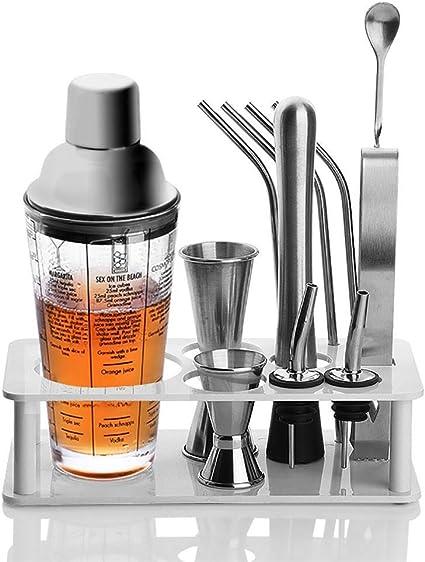 Bartender Set Cocktail Shaker Set: herramienta de barra de acero ...