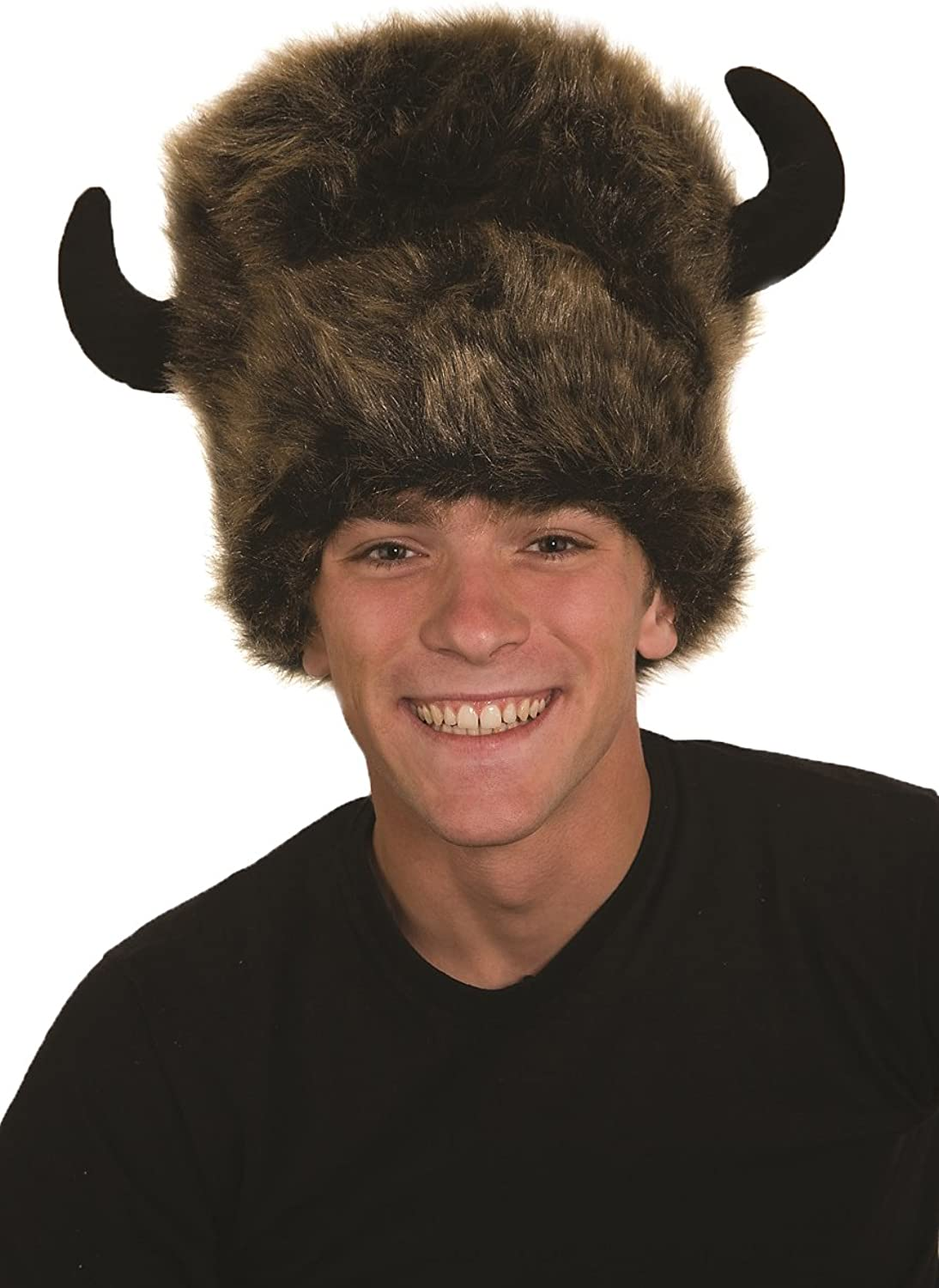 fe569150 Amazon.com: Adult Faux Fur Brown Bison Buffalo Hat With Horns ...