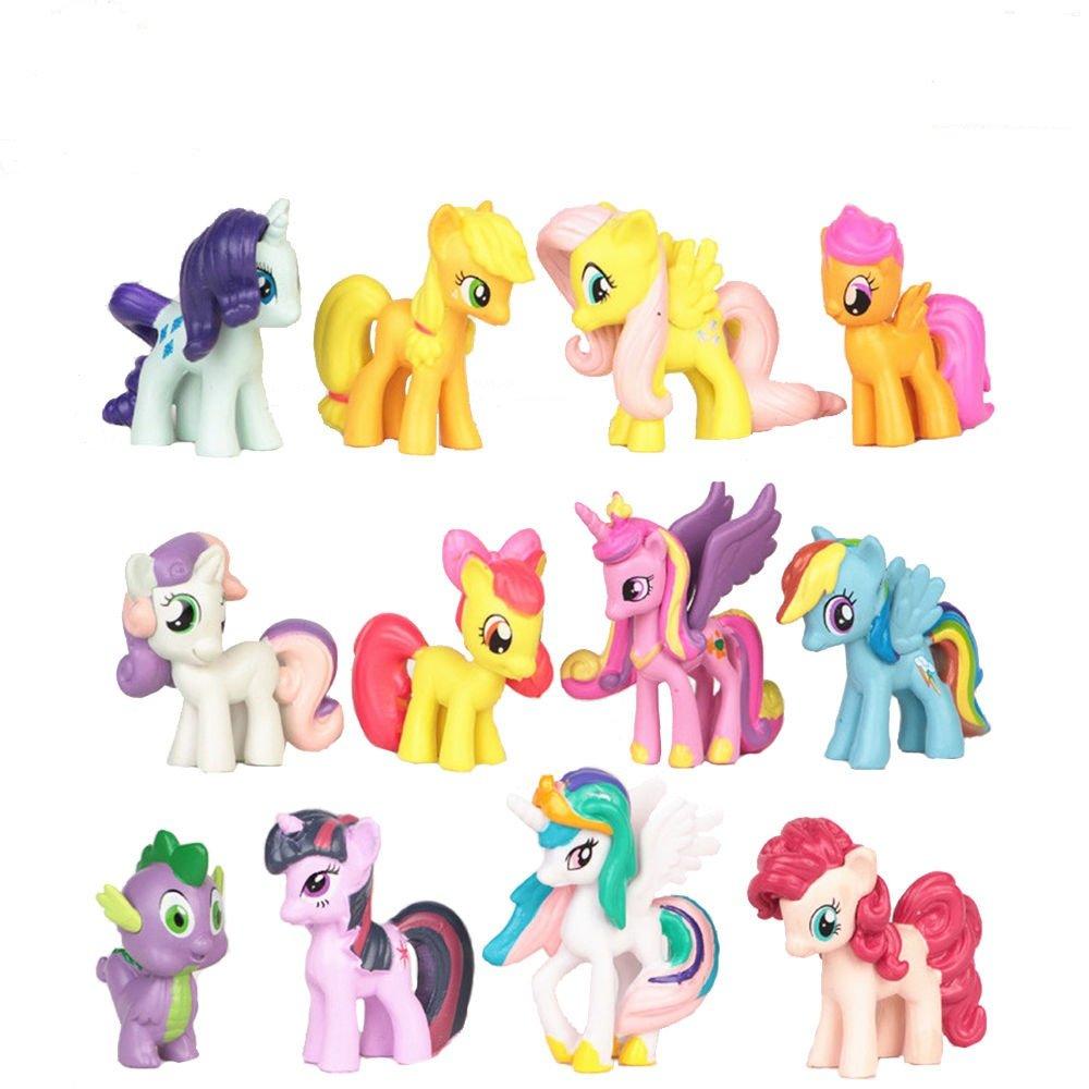 Phantomx 12 PCS My Little Pony Action Figures Toy Rainbow Dash Celestia Cake Topper Gifts