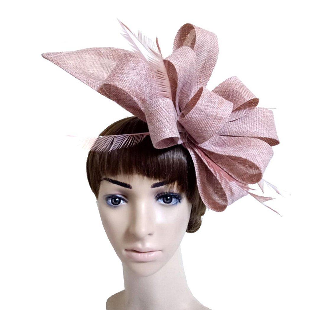 Womens Fascinators Feather Bowknot Linen Pillbox Hat Girls Wedding Dress Hat