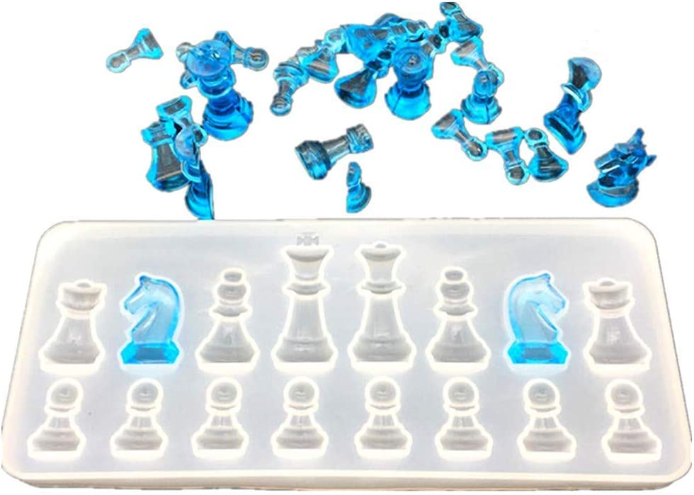 PIAOPIAONIU Chess Resin Molds Set,1PC Silicone Chess Board Mold,1pc 3D Chess Pieces Epoxy Casting Mold for DIY Jewelry Crystal Crafts Making Tool Projects