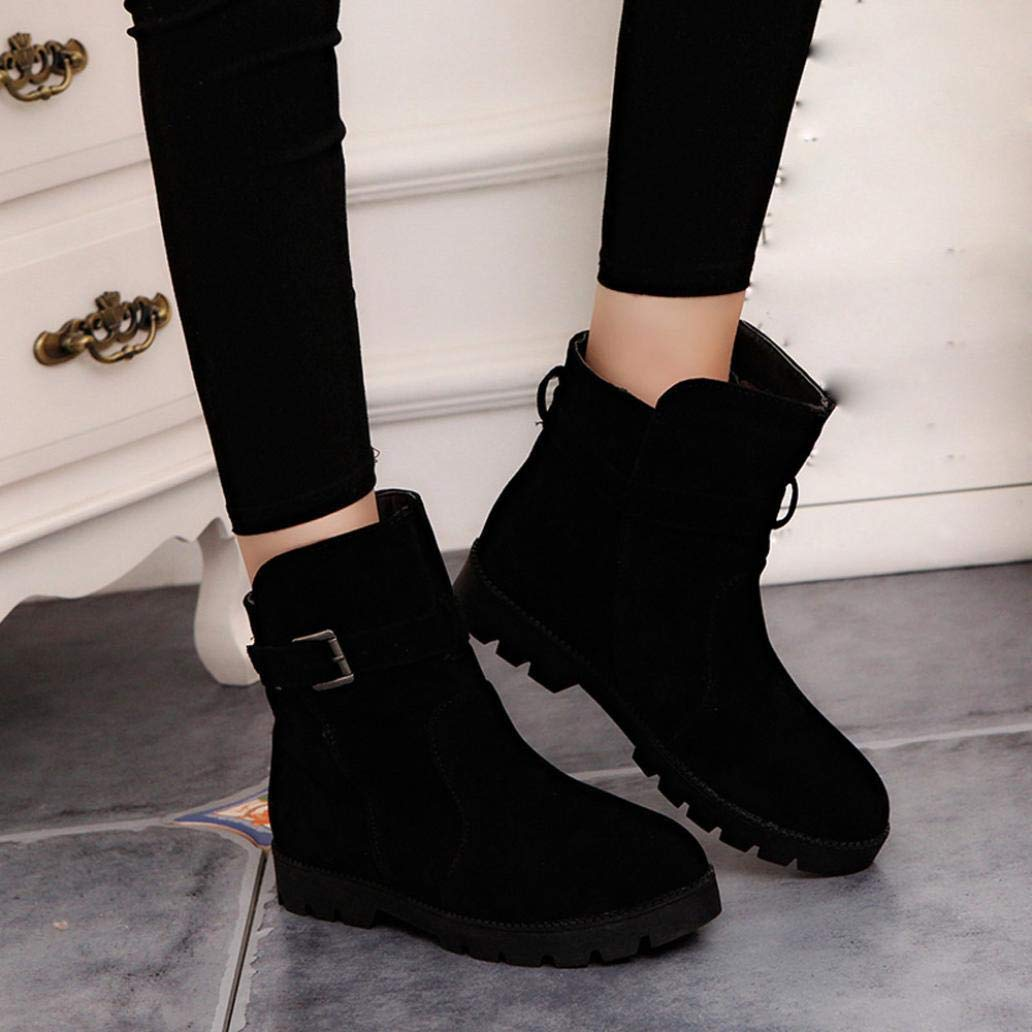 Gyoume Winter Snow Ankle Boots Buckle Boots Flat Wedge Boots Shoes Round Toe Boots