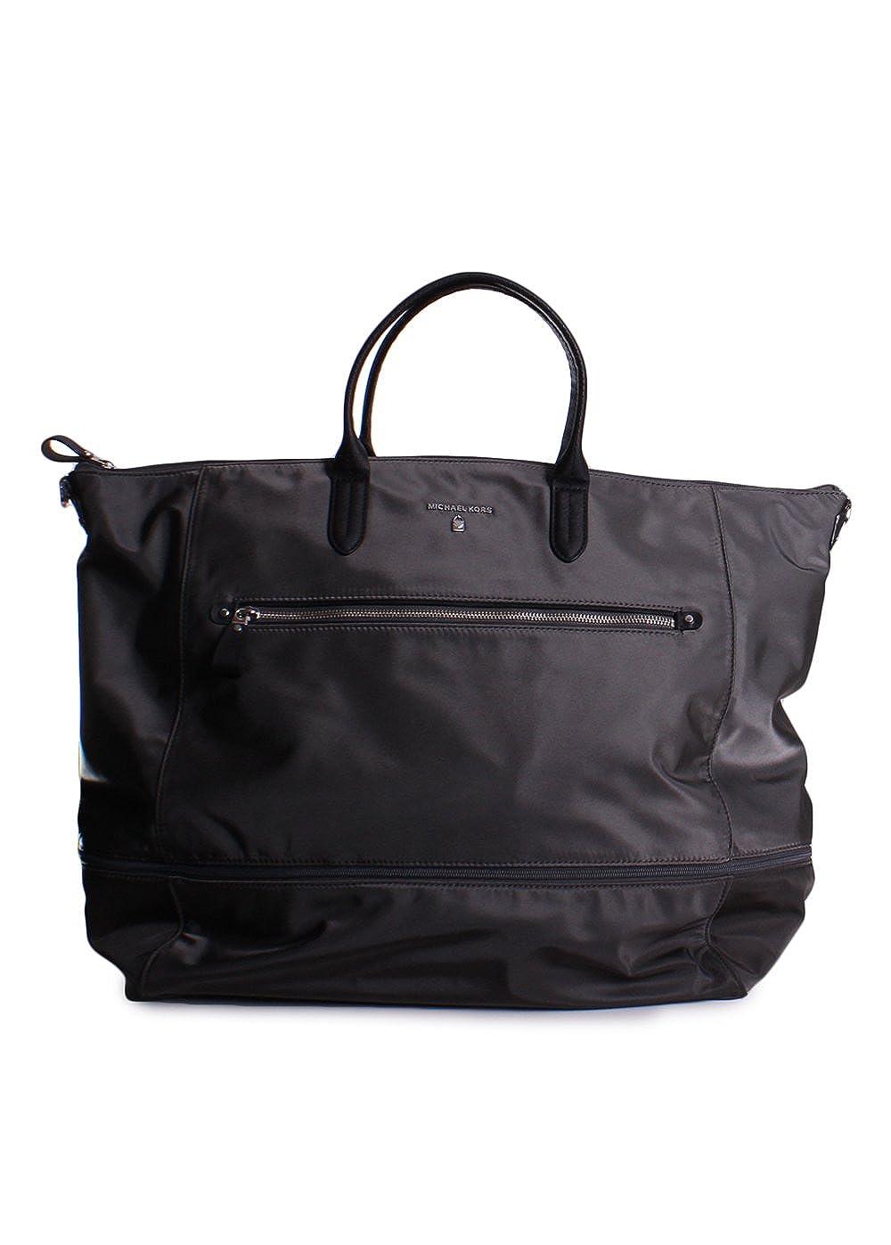 6ca5bde5bb5956 Amazon.com: Michael Kors Kelsey Nylon Expandable Extra Large Travel Tote in  Graphite: Clothing