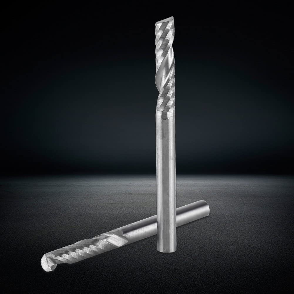Zyyini Carbide Square End Mill,10pcs Tungsten Carbide Endmill Single Flute Spiral CNC Router Bits 3.175x17mm