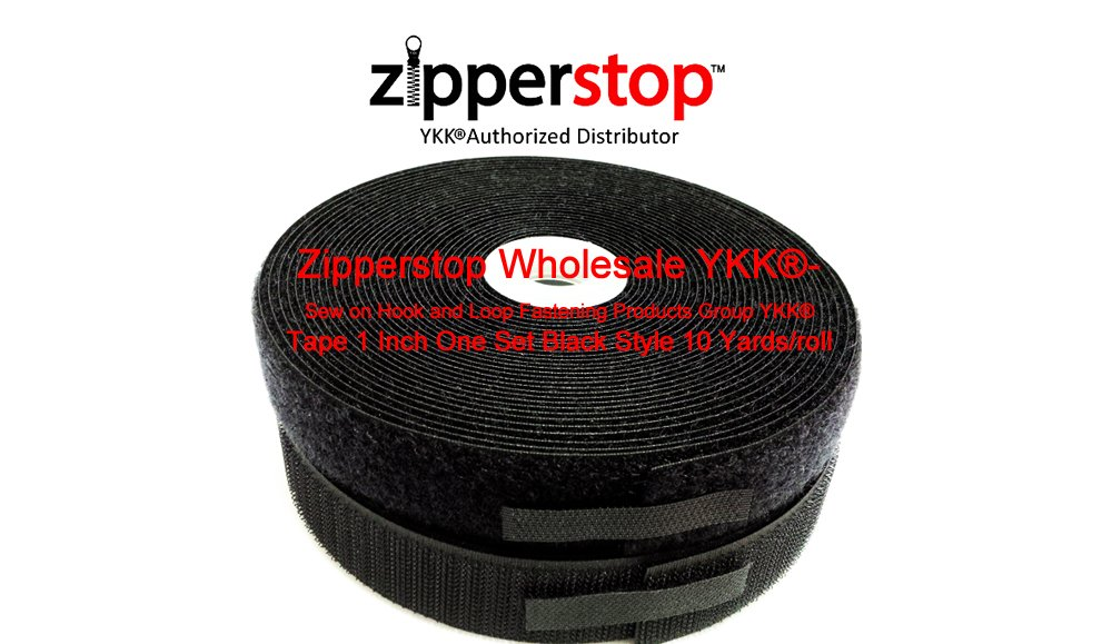 Zipperstop Wholesale YKK-- Sew on Hook and Loop Fastening Products Group YKK Tape 1 Inch Black Style 10 Yards/roll