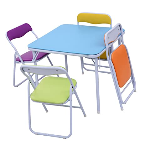 Kids 5 Piece Folding Table Chair Set Children Multicolor Play Room  Furniture New