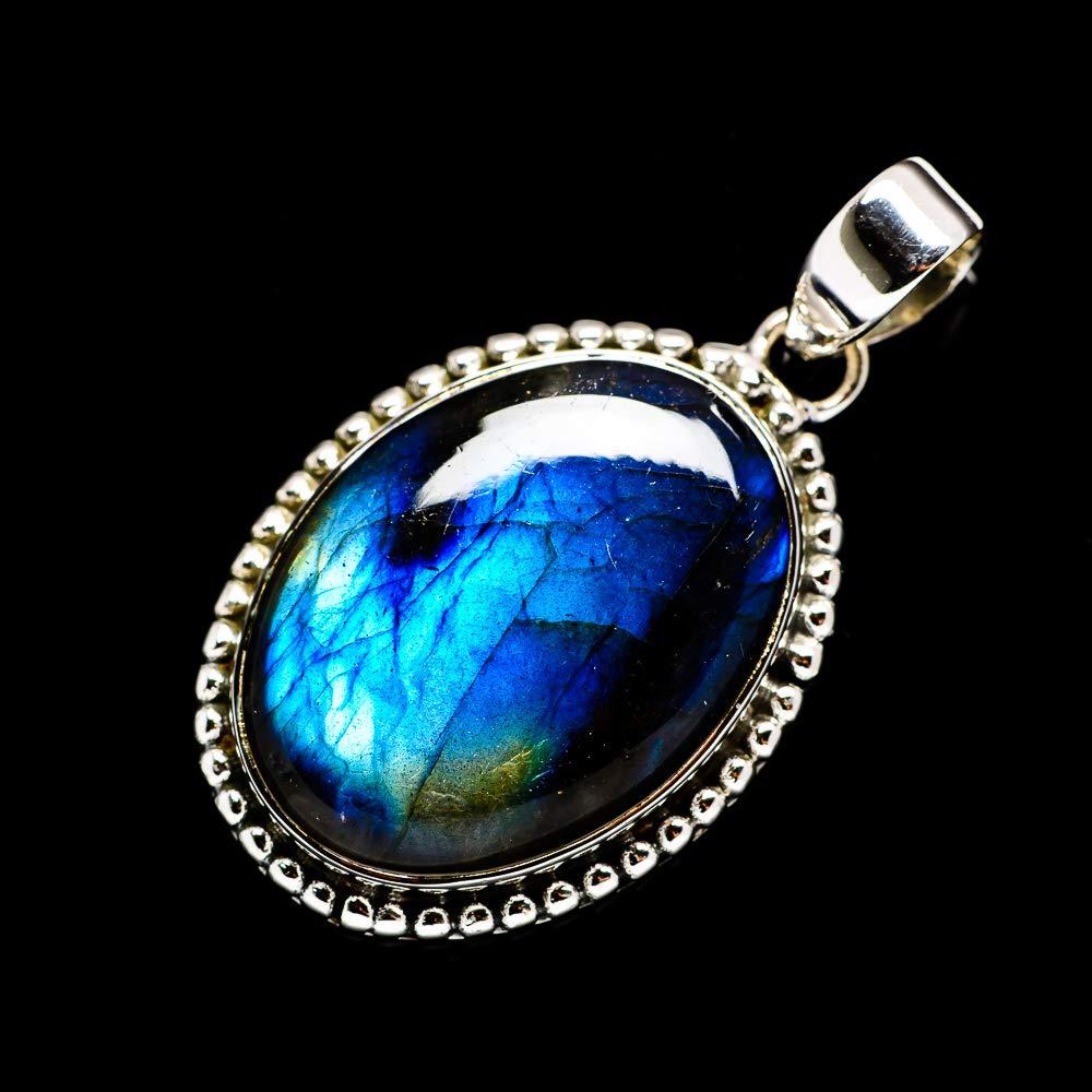 Vintage PD677184 Bohemian 925 Sterling Silver - Handmade Jewelry Ana Silver Co Labradorite Pendant 1 3//4