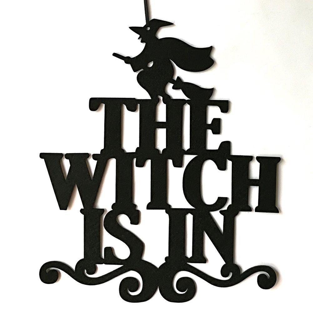 Connoworld la strega /è in Halloween party Home Decor tessuto non tessuto da parete con targa per porta The Witch Is In
