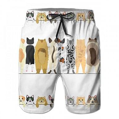 Amazon.co.jp: メンズ サーフパンツ ビーチパンツ ショーツ 水着 海水パンツ 水陸両用 ショートパンツ 防水速乾 短パン 海パン 猫の 後ろ姿 おしゃれ カジュアル 服&