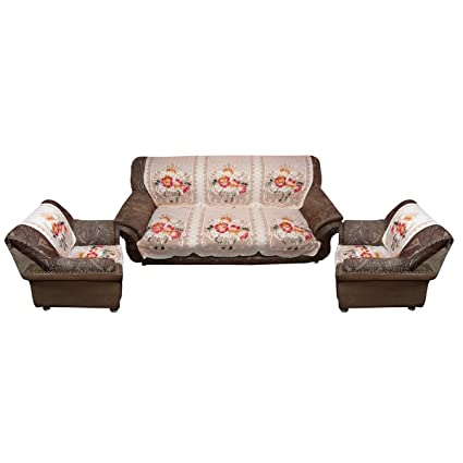 Amazon.com: Kuber Industries Sofa Cover Cream Cloth Net 5 Seater Set ...