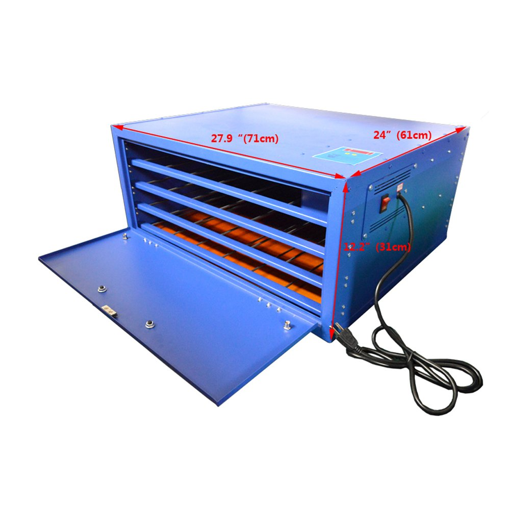 US Stock 110V 800W 4 Layers Screen Printing Drying Cabinet Exposure Size 25 x 23in Screen Press Warming Machine
