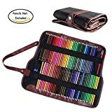 Niutop Canvas Pencil Wrap, 72 Pencil Holder Colored Pencils Case Roll Multi-purpose Pouch for School Office Art Soft Portable Pencil Bag for Travel Makes Your Pencils Organized (Black)