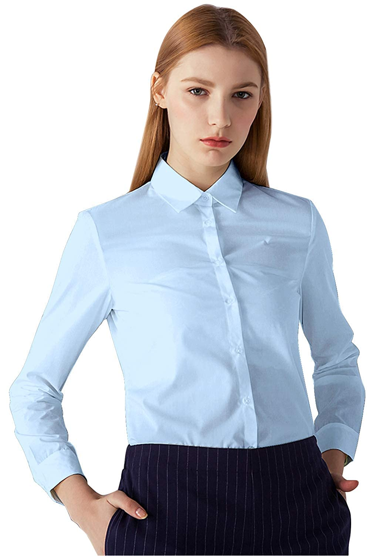 INFLATION Women's Dress Shirts Long Sleeve Slim Fit Cotton Button Down Shirt for Women