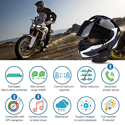 Bluetooth Motorcycle Helmet Headset Intercom,Fodsports V6 1200M Helmet Communication System,Handsfree Voice Command Wireless Headphone 6 Riders for Motorbike Skiing(Dual of soft cable) by Fodsports (Image #4)