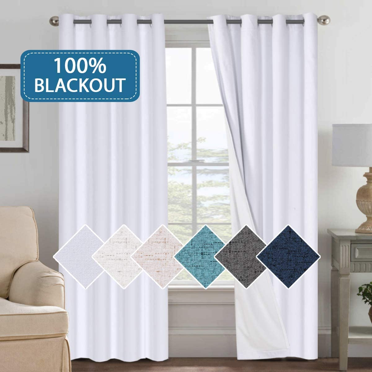 H.VERSAILTEX White Blackout Linen Textured Patio Extra Long Curtain, 100 Blackout Drapes 108 inch Long, Thermal Insulated Blackout Curtains for Bedroom, 2 Panels