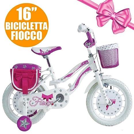 Bicicletta Per Bambina 16 Pollici Fiocco Telaio Acciaio Con Rotelle