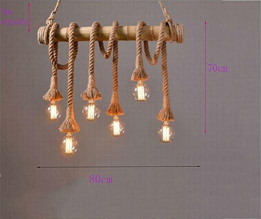 Amazon.com: Lámpara de araña simple retro zacate cuerda ...
