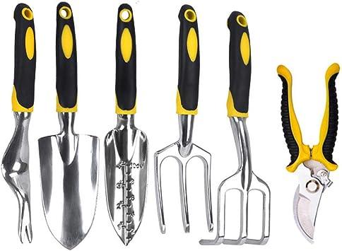 Juego de 6 herramientas de jardín, juego de plantas, tijeras de jardín de 6 piezas, pala, tenedor de escorpión, 6 herramientas de jardín, herramientas de jardín ergonómicas: Amazon.es: Bricolaje y herramientas