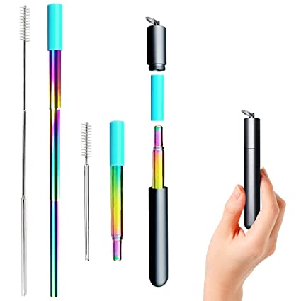 Tecvinci Reusable Collapsible Straw, Rainbow 9 25'' Telescopic Stainless  Steel Metal Straws, BPA-Free, FDA Approved Telescopic Reusable Straw with 1