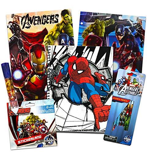 Marvel Avengers School Supplies Value Pack -- 9 Pcs (2 Notebooks, 2 Folders, 2 Pencils, Notepad, Pencil Sharpener, Eraser) -