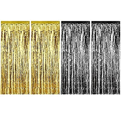 Sumind 4 Pack Foil Curtains Metallic Fringe Curtains Shimmer Curtain for Birthday Wedding Party Christmas Decorations