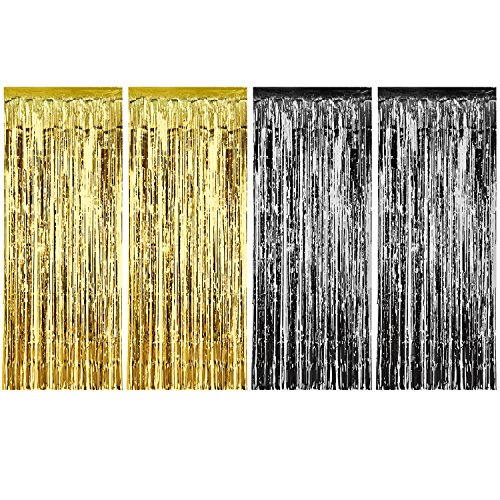 Sumind 4 Pack Foil Curtains Metallic Fringe Curtains Shimmer Curtain for Birthday Wedding Party Christmas Decorations (Gold and Black)]()