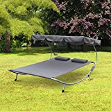 """Outsunny 79"""" Double Hammock Bed Chaise Lounge Relaxing w/ Metal Support Headrests Awning Top"""