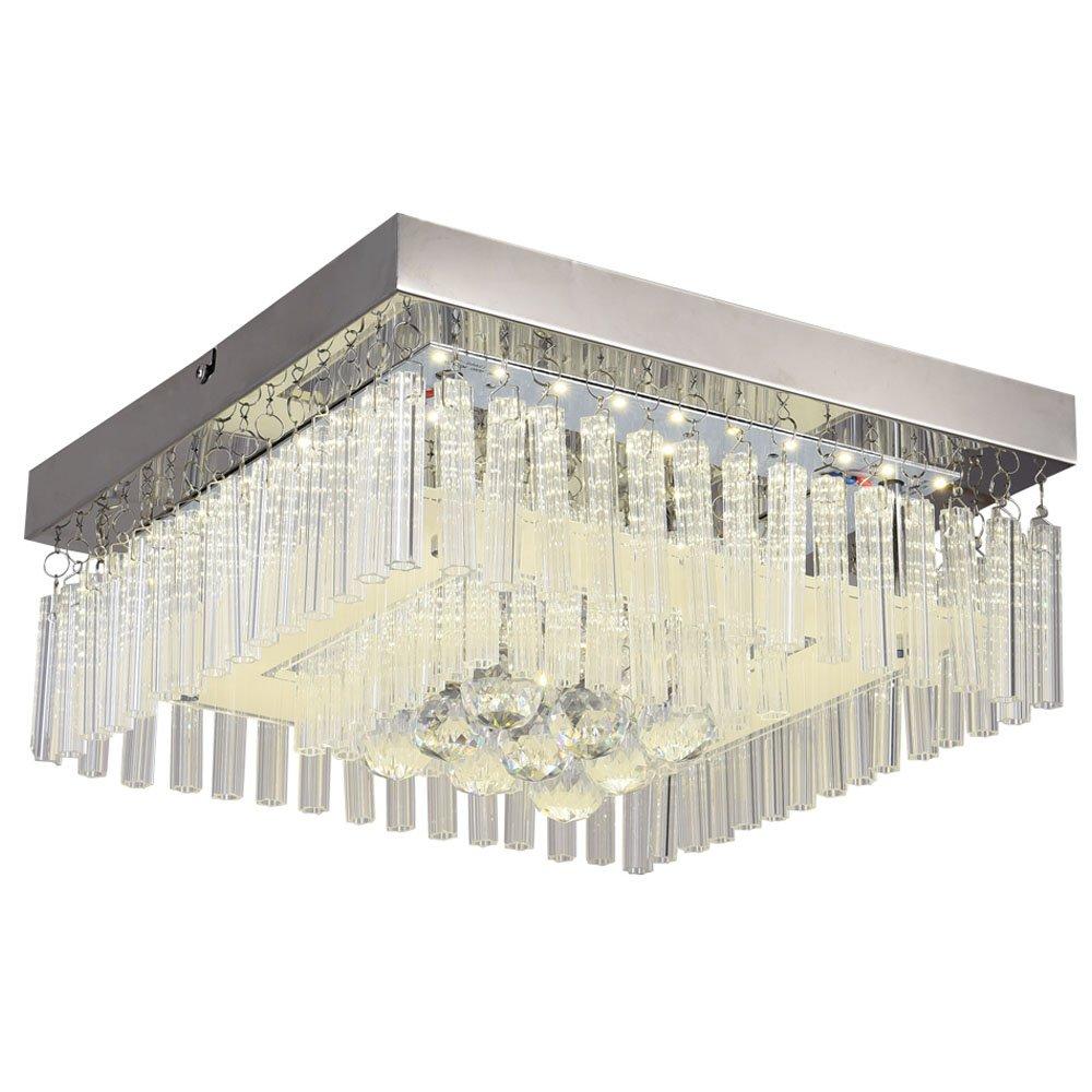 Horisun LED Crystal Ceiling Light Minimalist Flush Mount Ceiling Lamp Modern Chandelier Crystal Ball Lighting Fixture for Bedroom, Bathroom, Kitchen, 1320LM