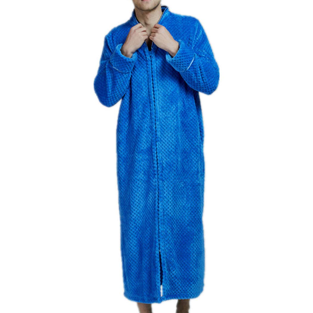Raylans Men's Soft Long Flannel Terry Cloth Bathrobe Sleepwear