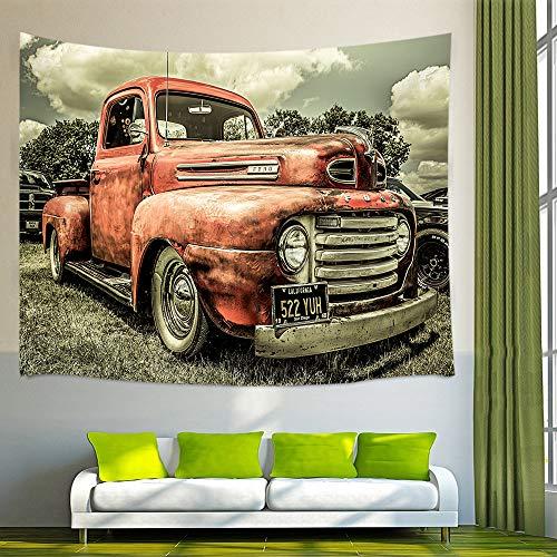 NYMB Rustic Car Wall Art Home Decor, Custom The Old Truck Car Tapestry Wall Hanging Bedroom Living Room Dorm, Beach Towel (Multi3, 60
