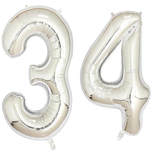 Globos de helio con número digital de 40 pulgadas, 34 ...