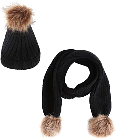 ACVIP Womens Acrylic Knit Skull Cap Scarf Cold Weather Set